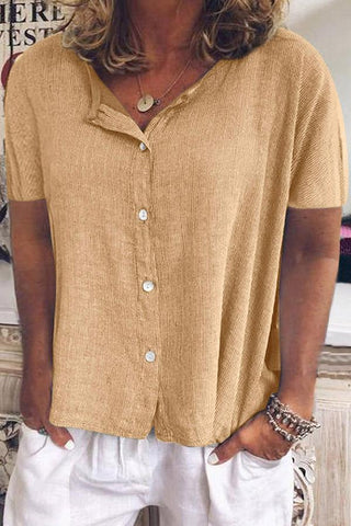 Button Front Short Sleeves Linen Blouse