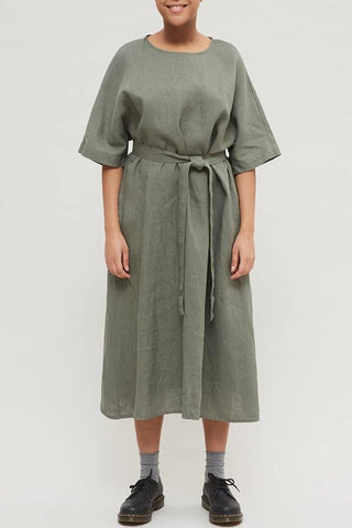 Loose Solid Self-tie Half Sleeves Midi Dress