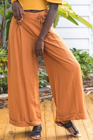 Linen Cross Tied Wide Leg Pants