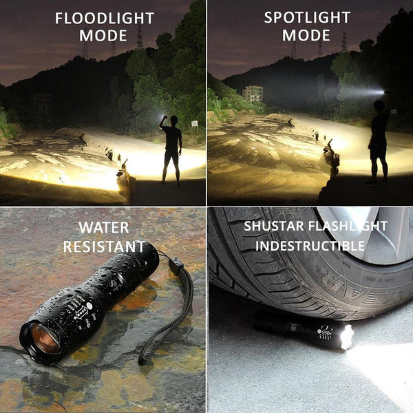 Rechargeable Ultra Bright 12K Lumen - 3 Modes - LED 5 Switch Waterproof Flashlight