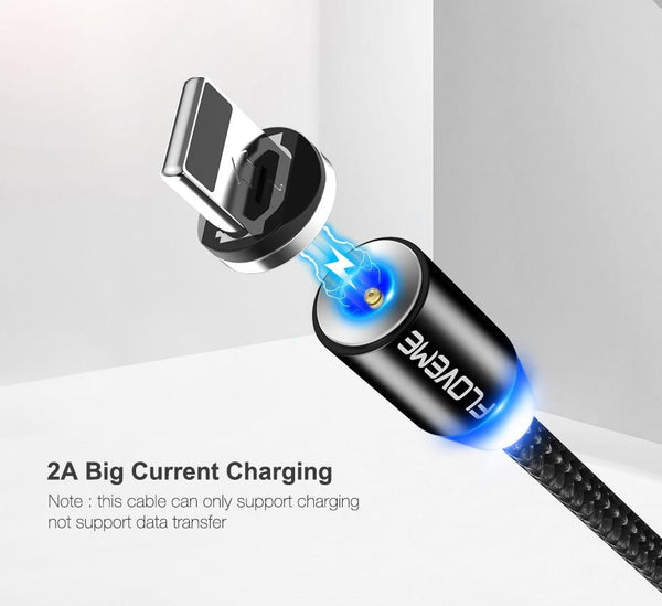360° Magnetic LED Charging Cable for Android and iPhones