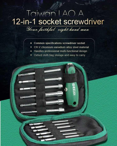 12-in-1 Multi-Function Professional Screwdriver Socket Set with T-Handle