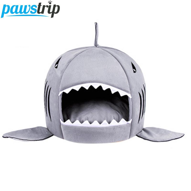 pawstrip 3 Colors Cartoon Shark Dog Bed House Winter Warm Cat Bed Detachable Wash Chihuahua Small Dog House Cama Perro