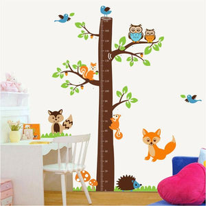 [Fundecor] new products large owl squirrel wall stickers kids room height  growth chart measurement decals 6407