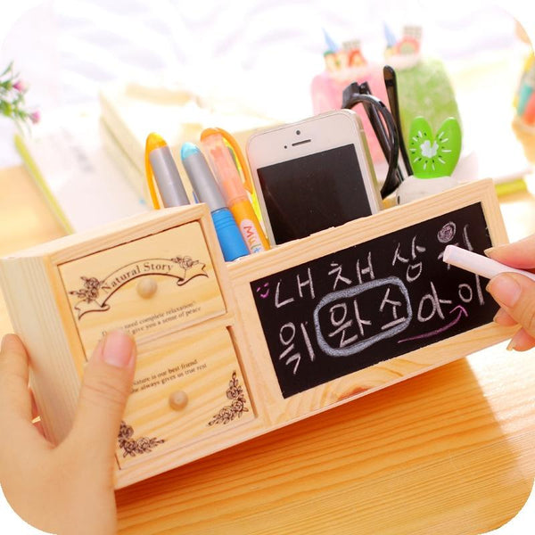 Wooden Desktop Pen Holder, Mini Chalkboard, Organizer