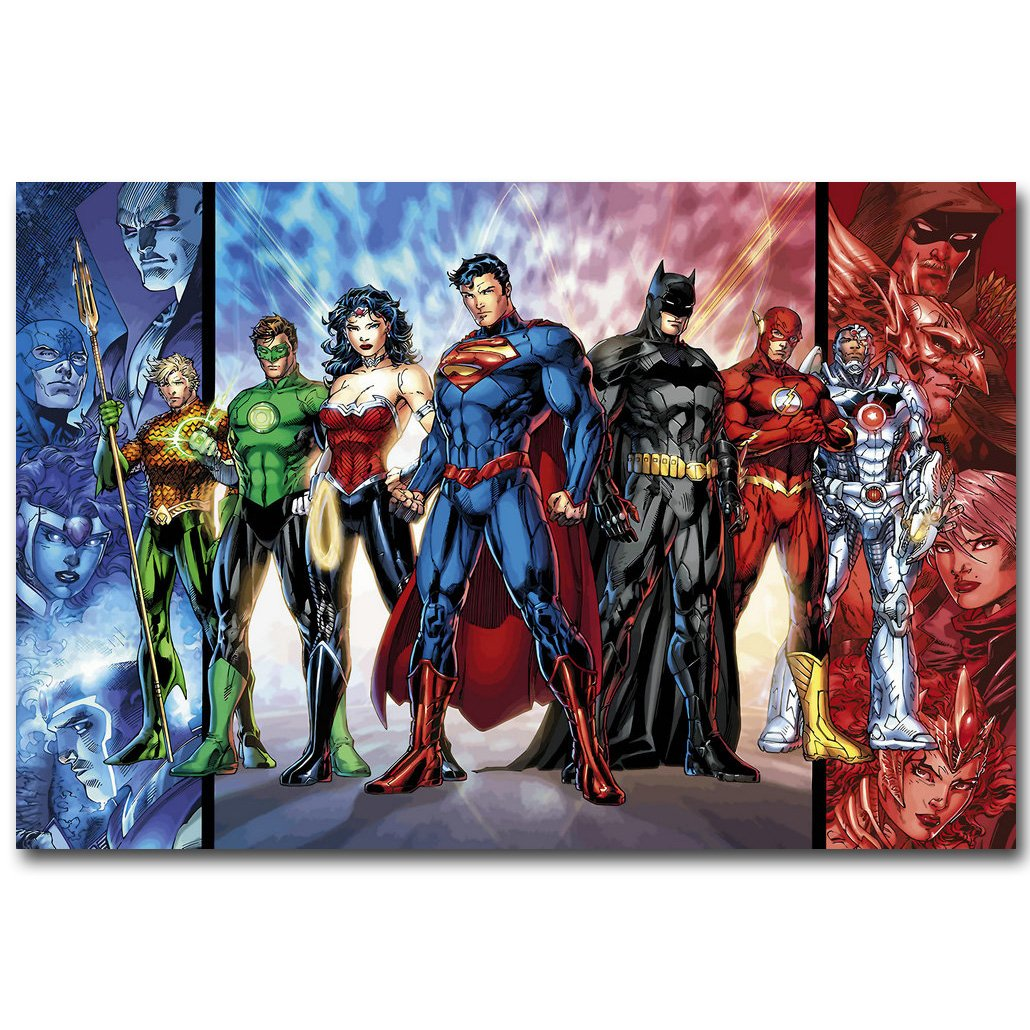 Justice League Superheroes Comic Art Silk Poster Print 13x20 24x36 inch Batman Superman Picture for Room Wall Decor 025