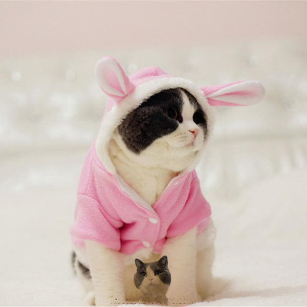 Warm Comfortable Thickened Cat Costumes Rabbit suit clothes windproof Pet Product Cute Bunny suit  For Cat Winter