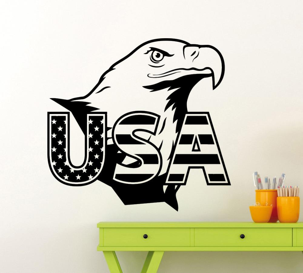 Removable Eagle USA Flag Wall Sticker American Symbol Vinyl Decal Home Room Interior High Quality Mural Home Decor Decal W-106