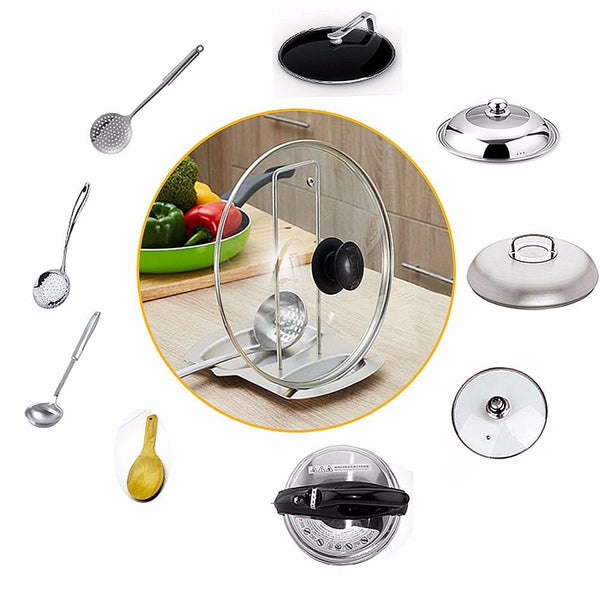 Stainless Steel Pot Lid & Spatula Stand