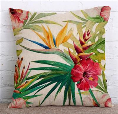 Rainforest Leaves Africa Cotton Linen Tropical Plants Hibiscus Flower Throw Pillow Case Parrot chair/ Sofa Cushion Cover