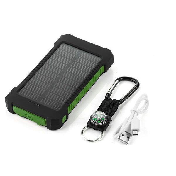 Waterproof 20,000 mAh Dual USB Solar Powered Power Bank with Flashlight