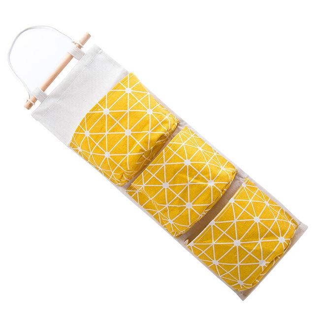3 Pockets Wall Hanging Cotton Fabric Closet Organizer Storage Bag