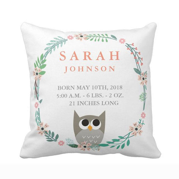 Personalized Woodland Forest Birth Stats Owl Nursery Throw Pillow Cover Soft Polyester Cotton Home Decorative Cushion Cover Sofa