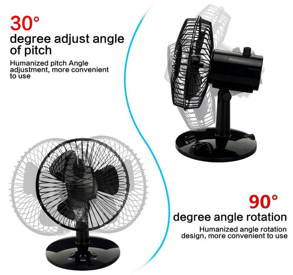 Rotatable Metal Oscillating Table Fan Personal Desk Mini Fan Computer Laptop Cooler Cooling USB Fan for Office Home Dorm