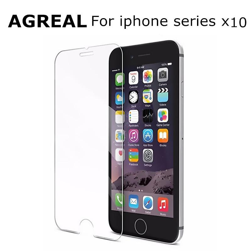 AGREAL 10Pcs 0.3mm 9H 2.5D Tempered Glass for iPhone 6 6S 5 5s 5c SE 4s 7 8 screen protector Film for iphone 7 plus for iphone X