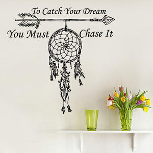fashion Wall Decals Quote To Catch Your Dream Catcher Vinyl Sticker Feather Arrow os1468