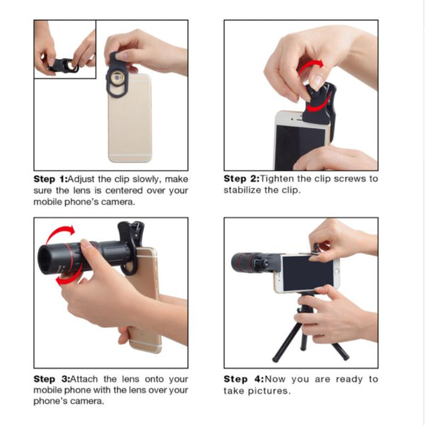 Telescopic Zoomable Mobile Smart Phone Camera Lens Enhancer