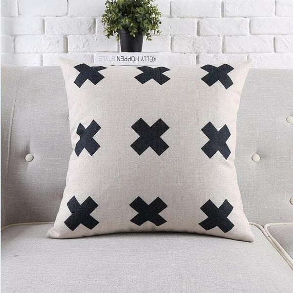 Tropical Style Black And White Geometric Printed Cushion Cover Decorative Sofa Throw Pillow Car Chair Home Decor Pillow Case