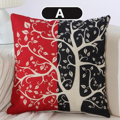 Black Red Tree Pattern Cotton Linen Throw Pillow Cushion