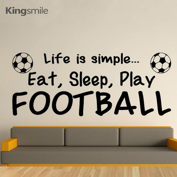 Football Decals Life Is Simple Eat Sleep Play Quotes Wall Sticker Vinyl Sports Art for Boys Bedroom Wall Stickers Size 100x40cm