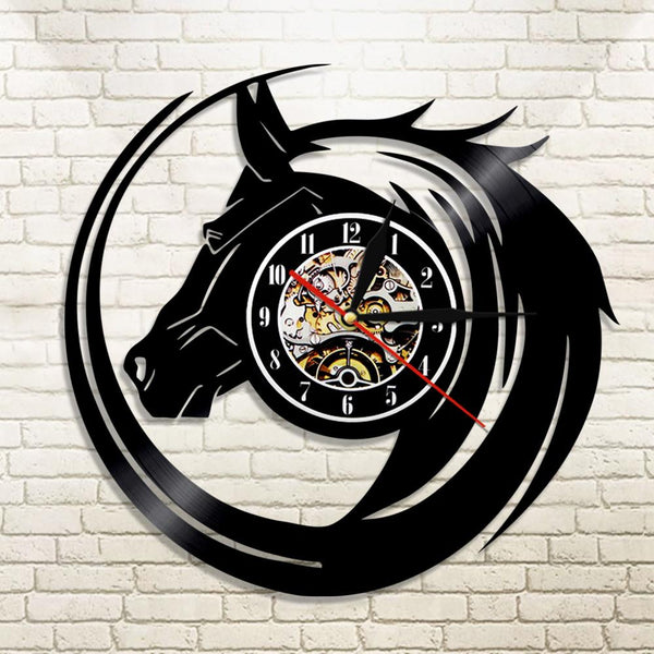 Modern Black Horse Wall Clock made from Vinyl Records
