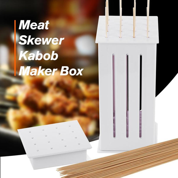 Multi-Purpose 16 Hole Meat Kabob Skewer Box with 31 Skewers