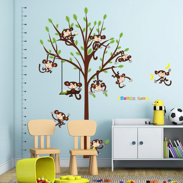[Fundecor] new cartoon monkey tree baby wall stickers for children's rooms Home Decoration art decal heigh wallstickers