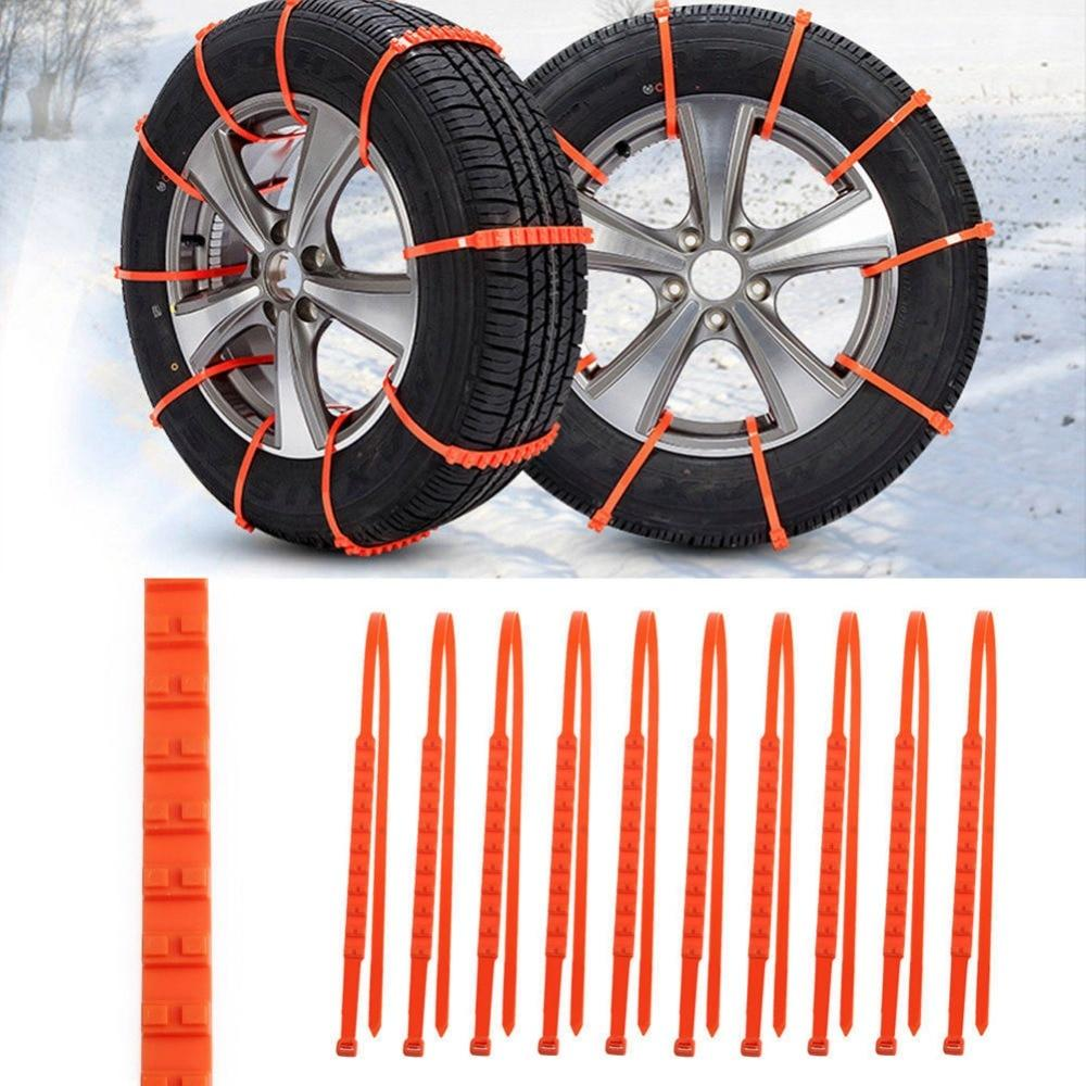 10 Pack: Universal Plastic Anti-Skid Winter Tire Chains