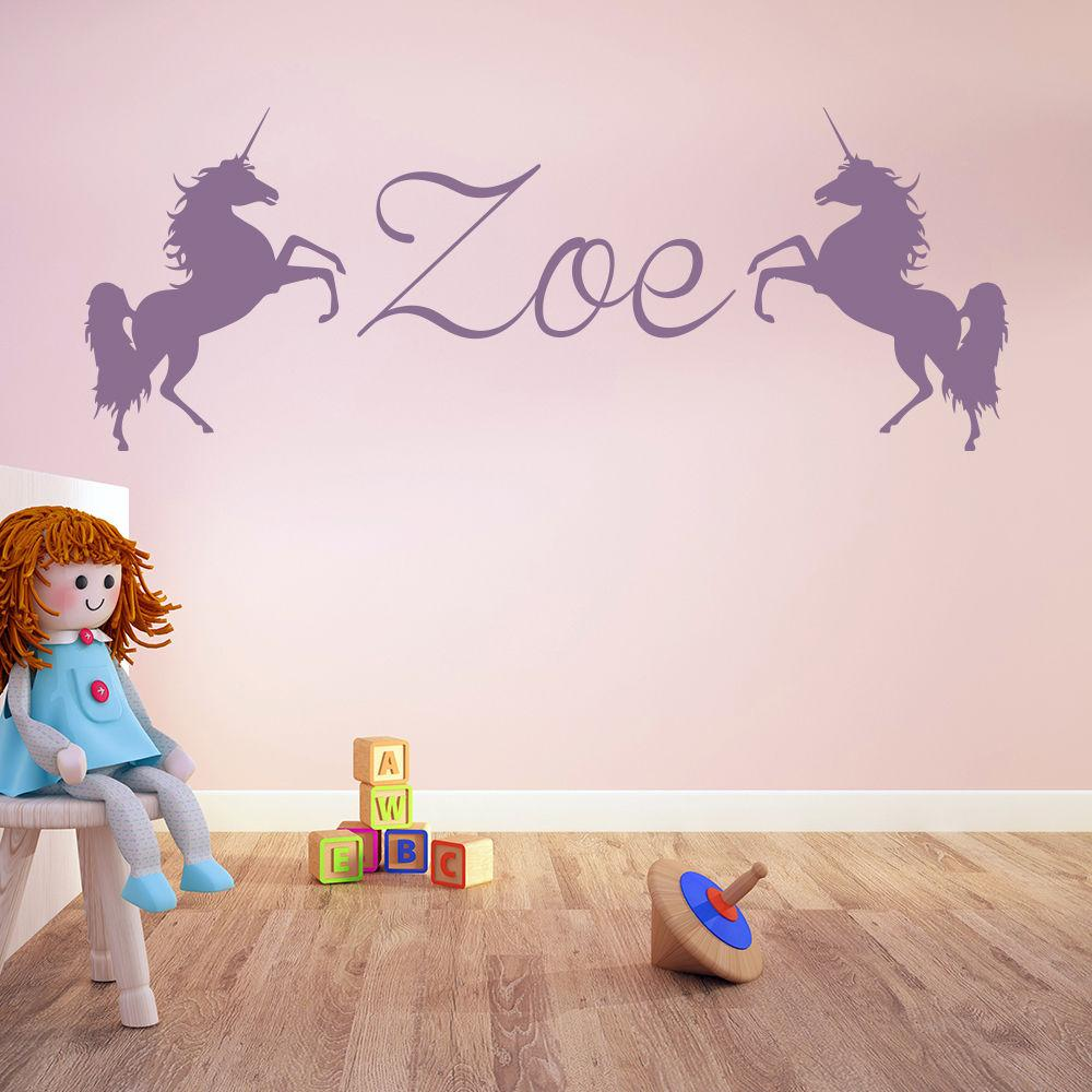 Unicorn Personalised Name Wall Stickers Wall Decal Girls Room Nursery Home Decor Wallpaper Removable Mural   SA313