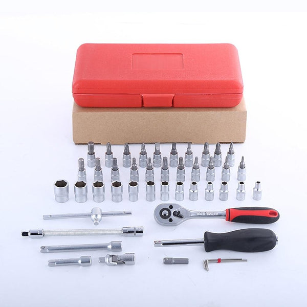 "46 Piece: 1/4"" Interchangeable Torque Chrome Socket Wrench Tool Set"