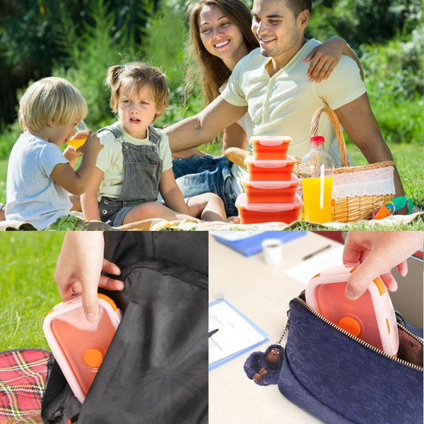 Portable Silicone Eco-Friendly Folding Collapsible Lunchbox