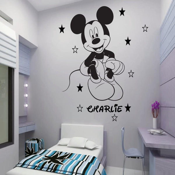 Updated Vinyl Mickey Mouse wall Mural Custom Any Name With Stars Boys Wallart Pegatina For Children Rooms