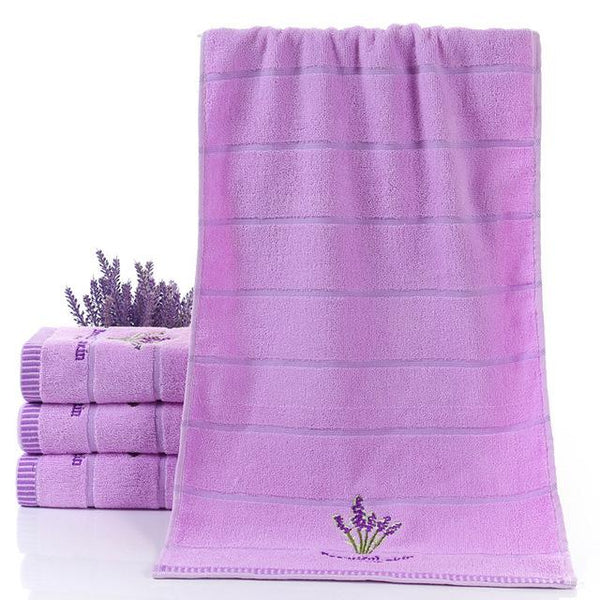 Lightweight soft and durable Pure Cotton Thicken Stripe Face Towels Lavender Pattern Absorbent Face Towels