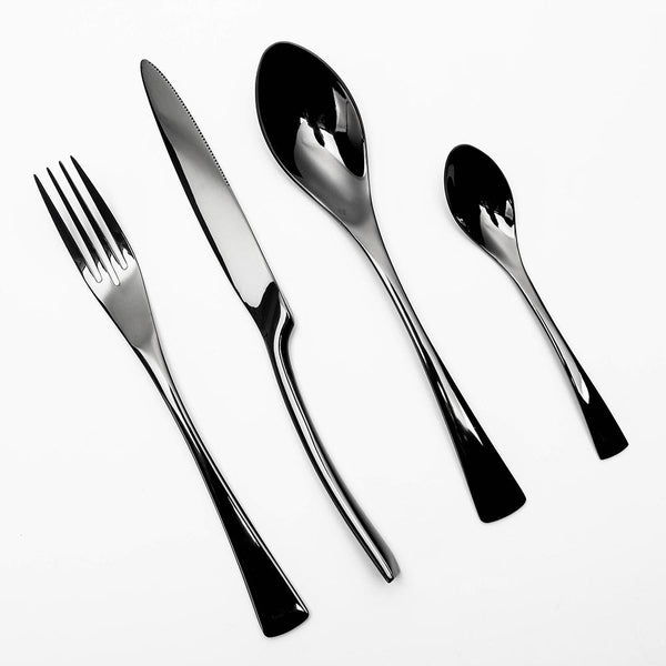 4 Piece: Black Stainless Steel Western Styled Cutlery