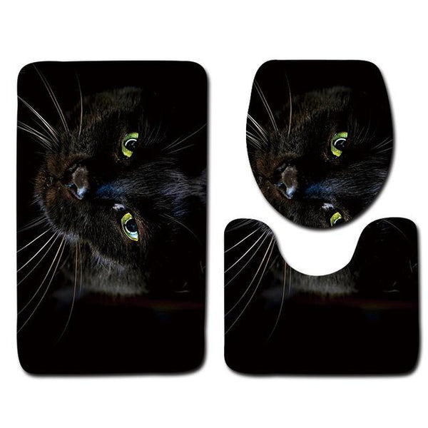 3pcs Cat PrintedToilet Seat Cover Set