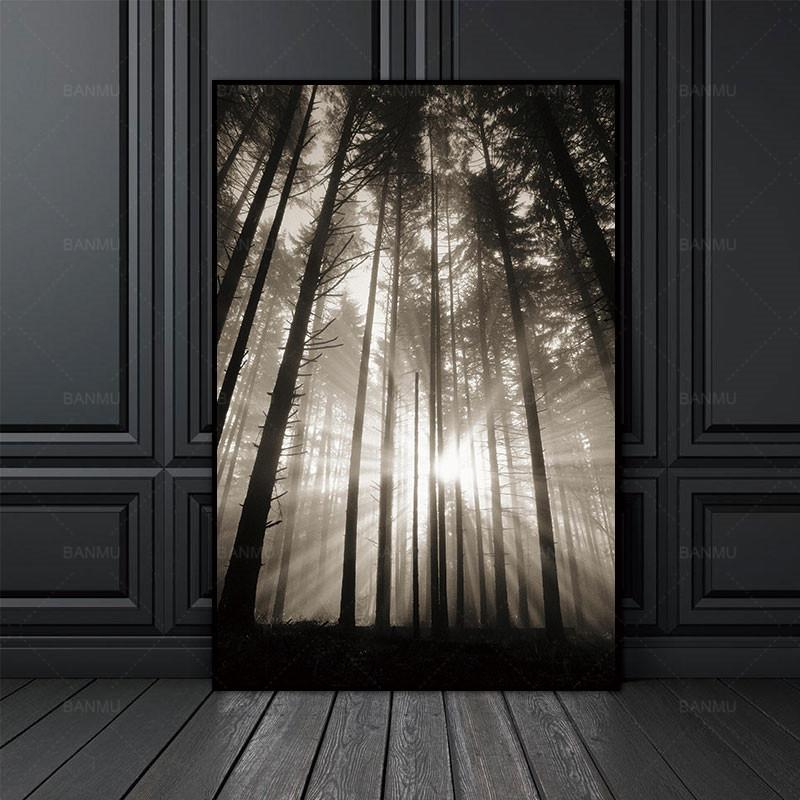 Canvas Painting Wall Picture Sun Forest Nordic Abstract Hope Living Room Landscape Art Decoration Picture Scandinavian No Frame