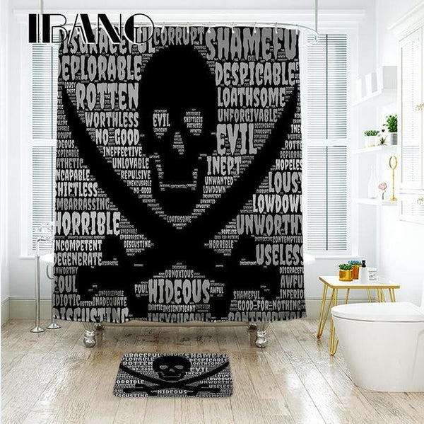 Cartoon Colored Skull Design Custom Shower Curtain Bathroom Waterproof Mildewproof Polyester Fabric With 12 Hooks Multi-Size