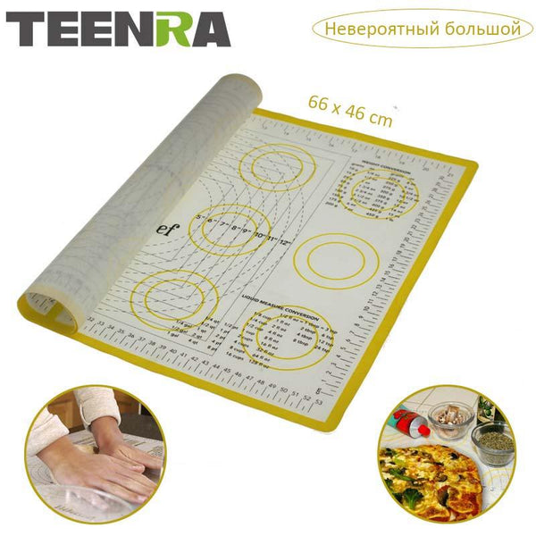TEENRA Ex-large Silicone Mat for Oven Macaron Silicone Baking Mat Sheet  Scale Rolling Dough Mat Non-stick Confectionery Tools