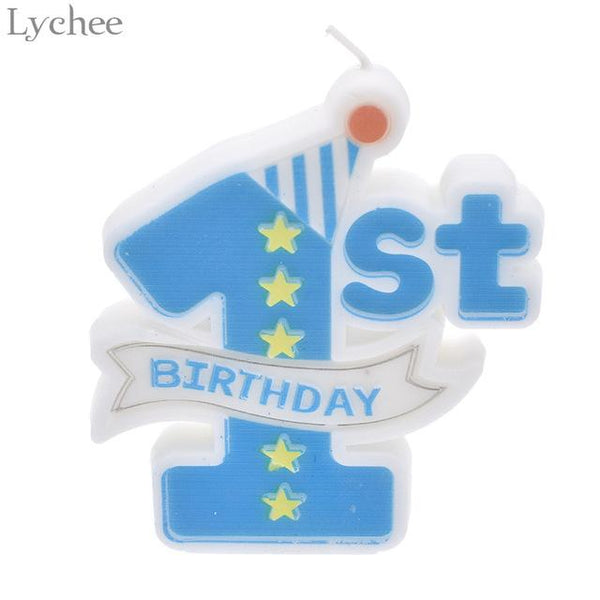 Lychee Baby 1st Birthday Candles Cake Toppers Kids Baby Shower Party Supplies Happy Birthday Party Decoration