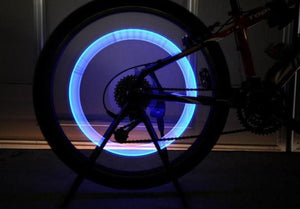 2 Pack: Bicycle Wheel LED Neon Tire Valve Cap Flash Light