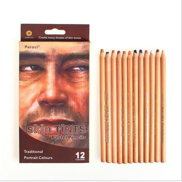 Wood Pastel Color Pencil Panting Drawing Set - 12 Colors