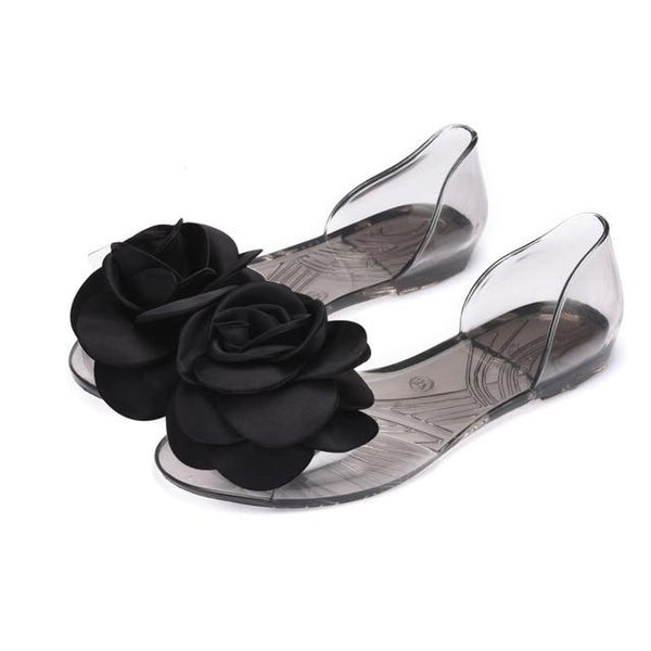 Women Big Floral Slip On Sandals Flat Summer Beach Jelly Shoes