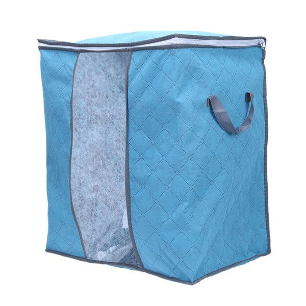 Portable Clothes Storage Bag Non-woven Folding Closet Organizer Pillow Quilt Blanket Organizer Storage Bag 4 Colors