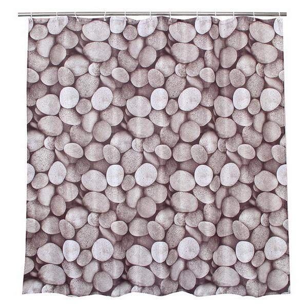 Fabric Polyester Pebble Stone Shower Curtains Waterproof Curtains Bathroom Shower Curtains Size 180x180cm with 12pcs C Rings.