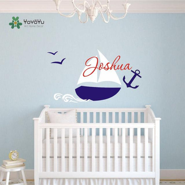 Custom Name Boys Room Nautical children name wall decal sailing boat wall sticker for boy nursery decor DIY home decoration D-50