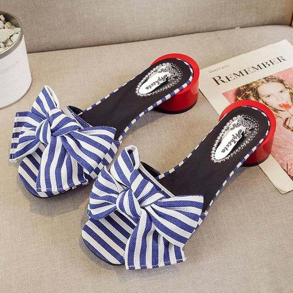 Women Flower Round Heels Sandals Slippers Summer Mules Slides Shoes