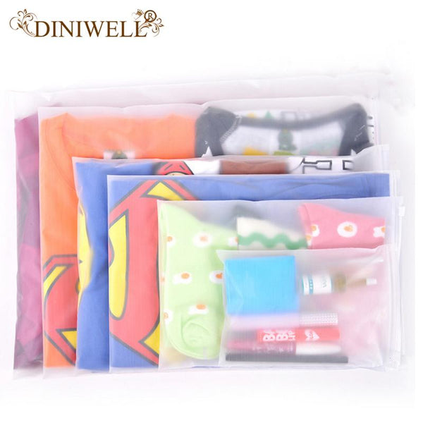 DINIWELL One Set 10 PCS PE Clothing Bags Zipper Travel Foldable Storage Bags Wardrobe Closet Organizer Save Space