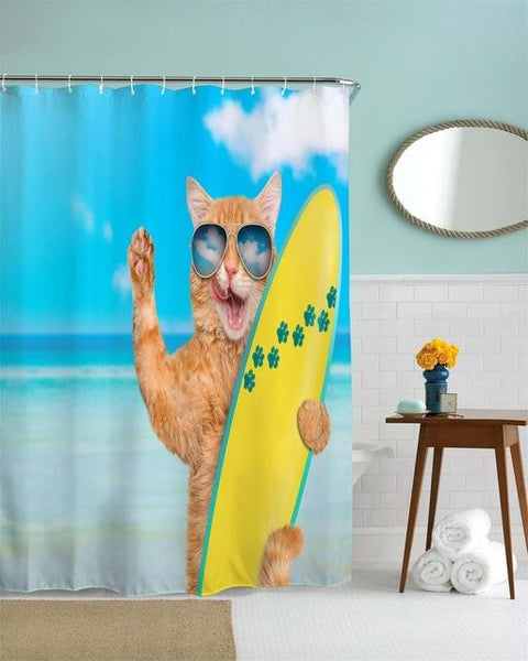QIYI Teeth Brushing Fat Cat Water-proof Polyester Shower Curtain 3D High Defintion Printing