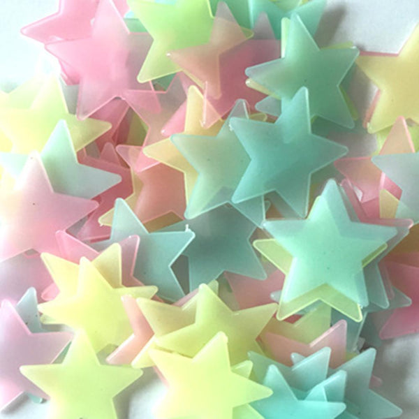 ISHOWTIENDA 100PC 3*3cm Kids Bedroom Fluorescent Glow In The Dark Stars Wall Stickers Kids Bedroom Fluorescent Glow Wall Sticker