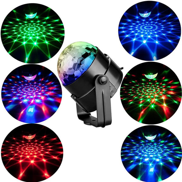 RGB LED Sound Activated Rotating Disco Ball Light